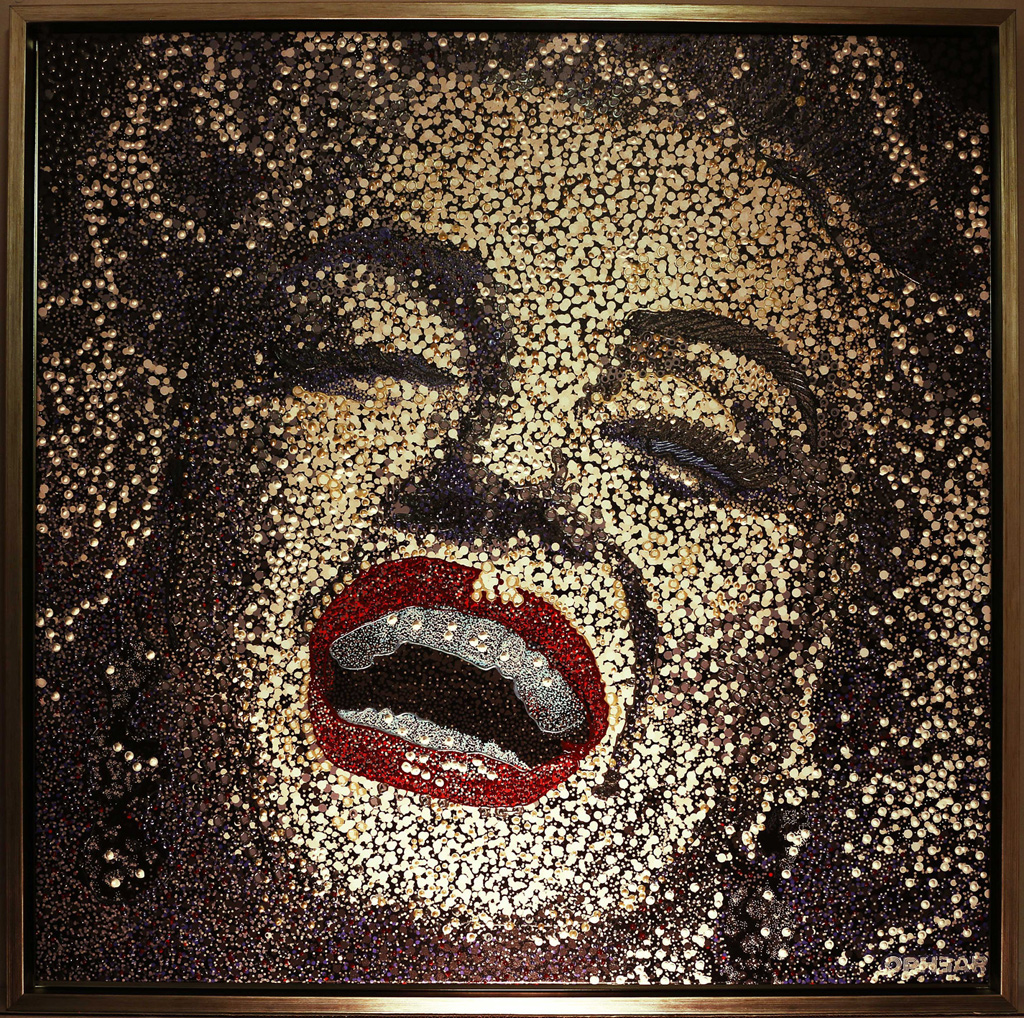 Marilyn-Monroe-pointillism--silver-white-acrylic-+-pigment-on-canvas-95x95cm-$6000