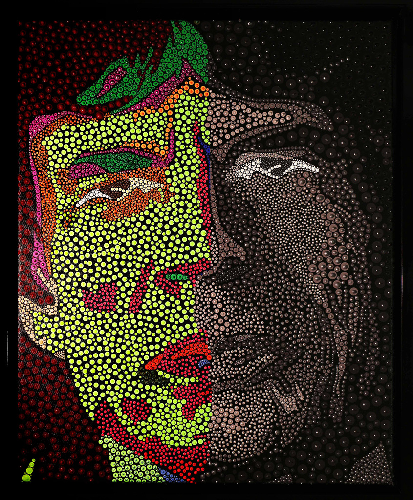 Mick-Jagger-Green+BW-pointillism-acrylic-+-pigment-on-canvas-43x55cm-$2000