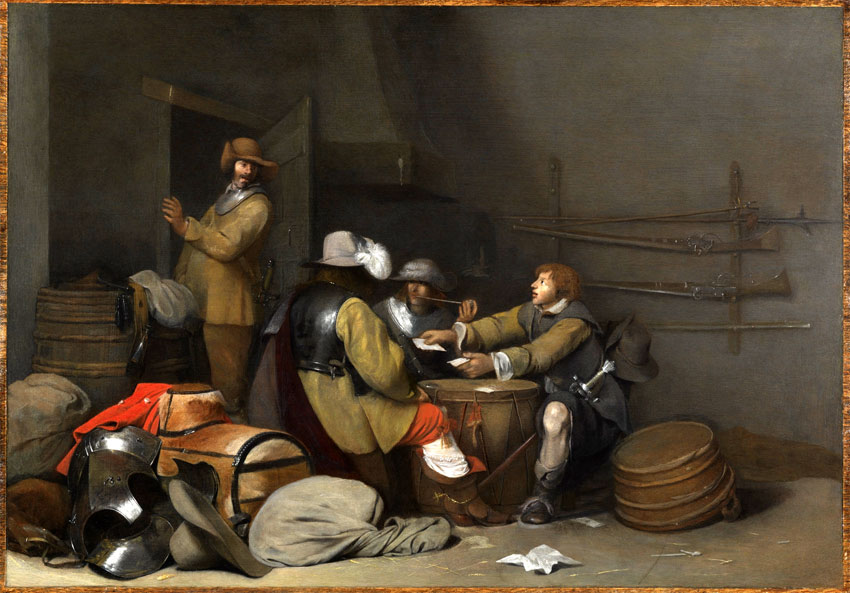 Gerard ter Borch the Younger, (Zwolle 1617 – 1681 Deventer) Guardroom Interior with Soldiers Smoking and Playing Cards, ca. 1640 Oil on panel, 34.9 x 49.5 cm