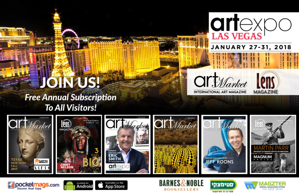 The International Art Market Magazine & Lens Magazine Are The Media Partners & Sponsors of Art Expo Las Vegas. Join us at the Art Fair and Get Free Annual Subscription to both magazines!!!
