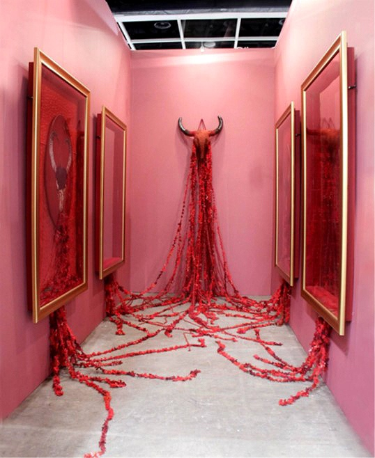 Geraldine Javier, Hysteria, 2011, oil on canvas, framed mirror, embroidery, and cow skull with tatting lace, 200 x 400 cm (variable) © Art Stage Singapore, 2017