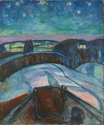 Edvard Munch. Norwegian, Løten 1863–1944, Ekely Starry Night, 1922–1924 Oil on canvas 47 7/16 × 39 3/8 in. (120.5 × 100 cm) Munch Museum, Oslo, EM.036 © 2017 Artists Rights Society (ARS), New York. Photo © Munch Museum.