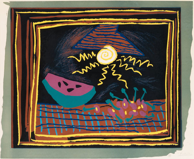 Pablo Picasso, Still Life with Watermelon, 1962. Woodcut. Courtesy Gildens Art Gallery © All rights reserved.