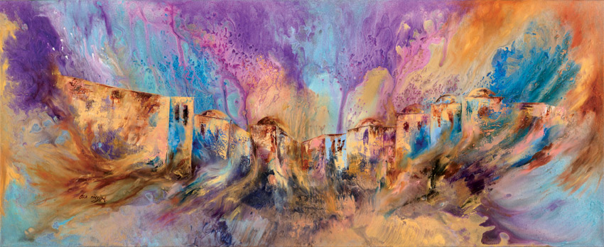 My Jerusalem,   160x65cm,  mixed technique, Oil on canvas. Signed.