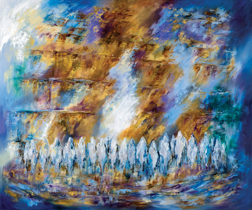 The Shekhina in the Western Wall,   100x120cm,  Oil on canvas. Signed.