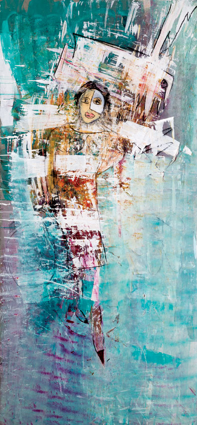 Although all  260x120cm Mixed media on wood