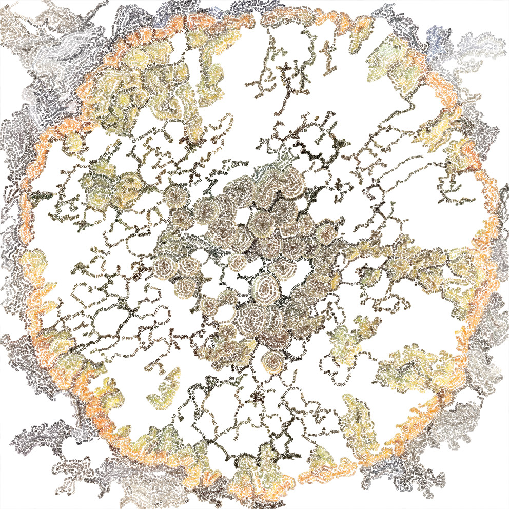 Brewer Nellien.  Romans (2016-2017) This artwork shows lichen from the rocks at Kommetjie in South Africa. It contains the entire Book of Romans.