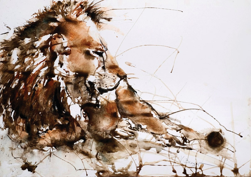The last lion, Mixed Media on paper. 70X100cm . Signed.